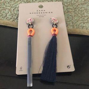 Zara long earrings with silk drop